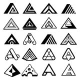 Triangle shapes for A letter logo and monogram. Abstract geometric  elements. Design emblem, vector illustration Stock Photos
