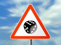 Triangle sign with dice. (six), sky background Stock Photo