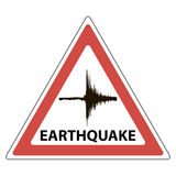 Triangle sign seismology meaning, the tremors of the earthquake Stock Image