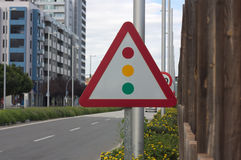 Triangle sign for traffic light Stock Photos
