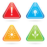 Triangle signs or icons. Stock Photos