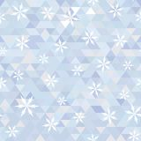 Triangle and snowflake. Abstract background with triangles and snowflakes. Vector winter. Seamless texture. Use as a backdrop. geometric shapes Royalty Free Stock Image