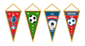 Triangle soccer pennants set isolated white Royalty Free Stock Images
