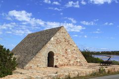 Triangle stone masonry Ses Salines formentera Stock Photo