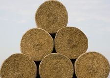 Triangle of straw rolls. Six straw rolls in triangle stock Royalty Free Stock Images