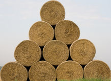 Triangle of straw rolls. Stock Images