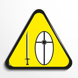 Triangle with a symbol `sword and shield`. Vector illustration. Black and white picture in a yellow triangle on a light background. Vector illustration Stock Image