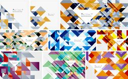 Triangle templates mega collection - abstract background designs. For banners, business backgrounds, presentations. Vector illustration Royalty Free Stock Image