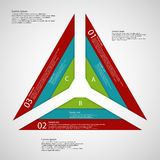 Triangle from three parts consists of three ribbons. Illustration infographic consists of three parts each with three color ribbons. Each ribbon has space for Royalty Free Illustration
