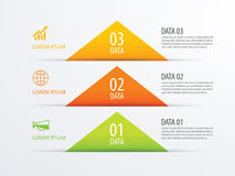 3 triangle timeline infographic options paper template with data. Background. Vector element can be used for business workflow layout, diagram, number options royalty free illustration