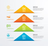 4 triangle timeline infographic options paper template with data. Background. Vector element can be used for business workflow layout, diagram, number options royalty free illustration