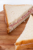 Triangle toast sandwiches with ham Royalty Free Stock Photos