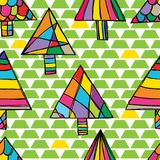 Triangle tree free drawing green yellow white style seamless pattern. This illustration is design free drawing style triangle tree in green and yellow stylish Royalty Free Stock Image