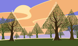 Triangle tree landscape Stock Images