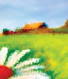 Triangle verte, blanche et bleue Chambre et fleur Été Image libre de droits