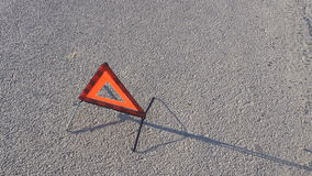 Triangle the warning triangle standing on the road stock video