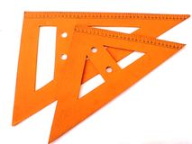 Triangle wood rulers Royalty Free Stock Photos