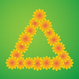 Triangle with yellow flowers Royalty Free Stock Photos