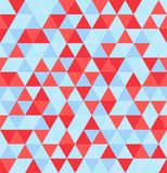 Retro geometric triangle seamless repeating background pattern in vector format. Shades of Red, blue triangles in a seamless repeating background stock illustration