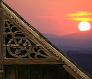 Triangles. Beautiful house in sunset in Transylvania Royalty Free Stock Photos
