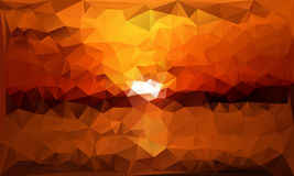 Triangles abstract background - sunset - vector. Illustration Royalty Free Stock Photo