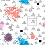 Triangles and abstract color spots. Seamless pattern. Geometric background for covers, textile. Doodles. Triangles and abstract color spots. Seamless pattern stock illustration