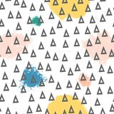 Triangles and abstract color spots. Seamless pattern. Geometric background for covers, textile. Doodles. Triangles and abstract color spots. Seamless pattern vector illustration