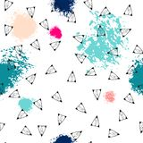 Triangles and abstract color spots. Seamless pattern. Geometric background for covers, textile. Doodles. Triangles and abstract color spots. Seamless pattern royalty free illustration