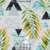 Triangles avec des feuilles de palmier, griffonnage, marbre, textures grunges Image libre de droits