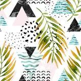 Triangles avec des feuilles de palmier, griffonnage, marbre, textures grunges Images stock