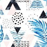 Triangles avec des feuilles de palmier, griffonnage, marbre, textures grunges, formes géométriques dans 80s, style 90s minimal Photographie stock
