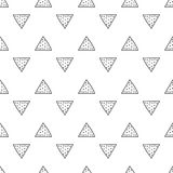 Triangles. Black and white seamless pattern. Geometric, abstract background for covers, textile. Doodle shapes. Royalty Free Stock Images