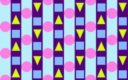Triangles, Circles and stripes 2. Pink dots arranged to create a diagonal movement.  Yellow Triangles arranged to create horizontal movement Stock Photos