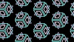 Triangles diamonds and cubes in a pattern on black royalty free stock photography