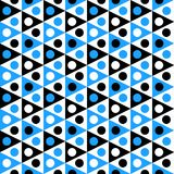 Triangles and dots seamless pattern. Abstract blue and black triangles with dots texture seamless background. Pointing left or right Stock Photos