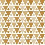 Seamless tan triangles dots texture. Triangles and dots tan brown geometric pattern grid. Seamless tile Stock Photo