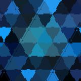 Triangles elements of mosaic on blue, neon gradient teal and black. Triangles of mosaic on blue, neon gradient teal and black stock illustration