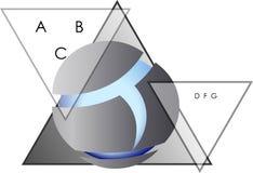 Triangles et logo abstraits d'affaires de conception de sphère Photo stock