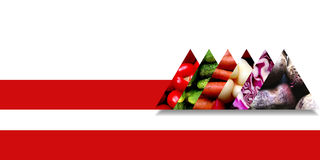 Triangles filled with vegetables and bound by a red ribbon Royalty Free Stock Images