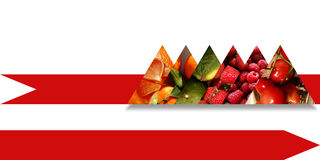 Triangles full of fruits and situated on a red ribbon Stock Photography