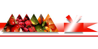 Triangles full of fruity textures and bound by red ribbon Royalty Free Stock Images
