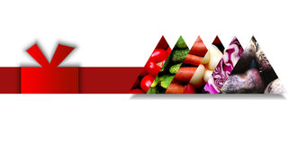 Triangles full of vegetables and situated on a single ribbon Stock Photo