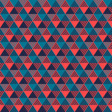 Triangles geometric seamless pattern in grey blue and pink, vector Stock Photos