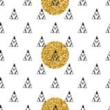 Triangles and golden circles, sequins. Seamless pattern. Geometric, abstract background. Doodle shapes. Triangles and golden circles, sequins. Seamless pattern stock illustration