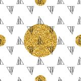 Triangles and golden circles, sequins. Seamless pattern. Geometric, abstract background. Doodle shapes. Triangles and golden circles, sequins. Seamless pattern Stock Photo