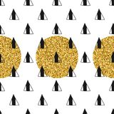 Triangles and golden circles, sequins. Seamless pattern. Geometric, abstract background. Doodle shapes. Triangles and golden circles, sequins. Seamless pattern vector illustration