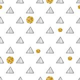 Triangles and golden circles, sequins. Seamless pattern. Geometric, abstract background. Doodle shapes. Triangles and golden circles, sequins. Seamless pattern Royalty Free Stock Image