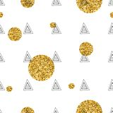 Triangles and golden circles, sequins. Seamless pattern. Geometric, abstract background. Doodle shapes. Triangles and golden circles, sequins. Seamless pattern Stock Photography