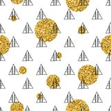 Triangles and golden circles, sequins. Seamless pattern. Geometric, abstract background. Doodle shapes. Triangles and golden circles, sequins. Seamless pattern Royalty Free Stock Images
