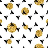 Triangles and golden circles, sequins. Seamless pattern. Geometric, abstract background. Doodle shapes. Triangles and golden circles, sequins. Seamless pattern Royalty Free Stock Photo
